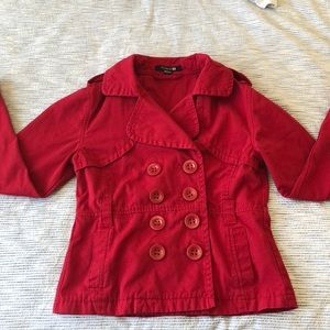 Red Forever 21 jacket denim-type material